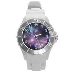 Blue Galaxy  Round Plastic Sport Watch (l) by DanaeStudio