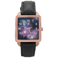 Blue Galaxy  Rose Gold Leather Watch  by DanaeStudio