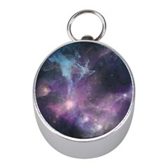 Blue Galaxy  Mini Silver Compasses