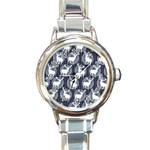 Geometric Deer Retro Pattern Round Italian Charm Watch Front