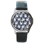 Geometric Deer Retro Pattern Round Metal Watch Front