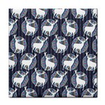Geometric Deer Retro Pattern Tile Coasters