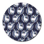 Geometric Deer Retro Pattern Round Mousepads