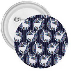 Geometric Deer Retro Pattern 3  Buttons