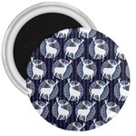 Geometric Deer Retro Pattern 3  Magnets