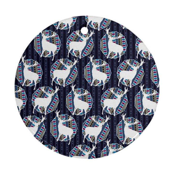 Geometric Deer Retro Pattern Ornament (Round)