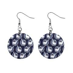 Geometric Deer Retro Pattern Mini Button Earrings by DanaeStudio