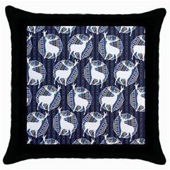 Geometric Deer Retro Pattern Throw Pillow Case (black) by DanaeStudio