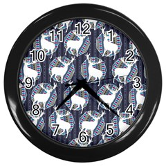 Geometric Deer Retro Pattern Wall Clocks (black) by DanaeStudio