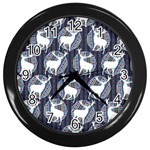 Geometric Deer Retro Pattern Wall Clocks (Black)