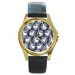 Geometric Deer Retro Pattern Round Gold Metal Watch