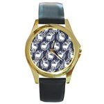 Geometric Deer Retro Pattern Round Gold Metal Watch
