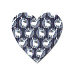 Geometric Deer Retro Pattern Heart Magnet Front