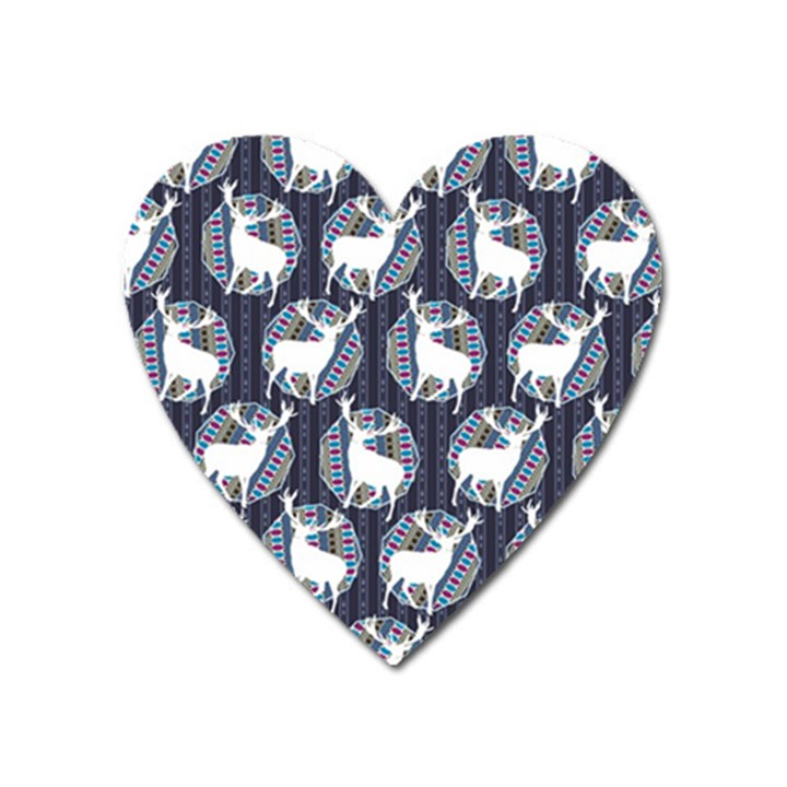 Geometric Deer Retro Pattern Heart Magnet