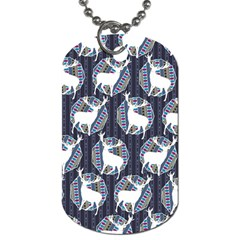 Geometric Deer Retro Pattern Dog Tag (one Side) by DanaeStudio