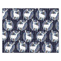 Geometric Deer Retro Pattern Rectangular Jigsaw Puzzl