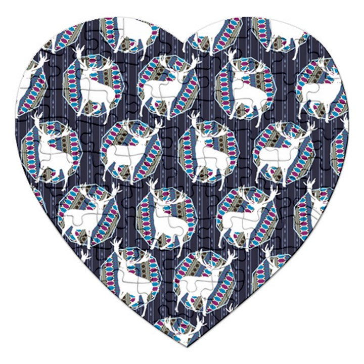 Geometric Deer Retro Pattern Jigsaw Puzzle (Heart)