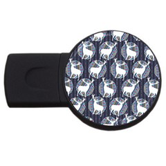 Geometric Deer Retro Pattern Usb Flash Drive Round (4 Gb)  by DanaeStudio