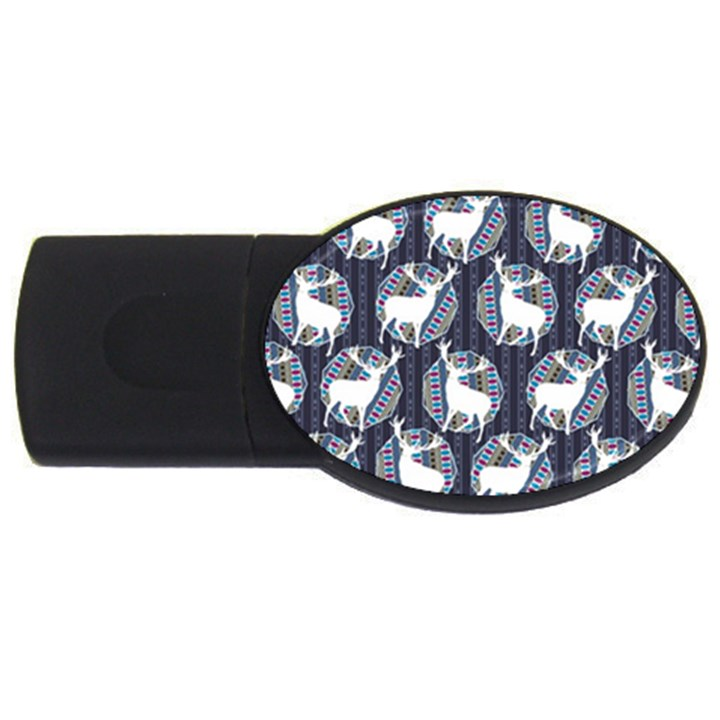 Geometric Deer Retro Pattern USB Flash Drive Oval (4 GB)