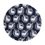 Geometric Deer Retro Pattern Round Ornament (Two Sides)  Back
