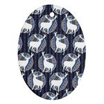 Geometric Deer Retro Pattern Oval Ornament (Two Sides)
