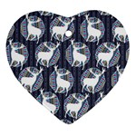 Geometric Deer Retro Pattern Heart Ornament (2 Sides) Front