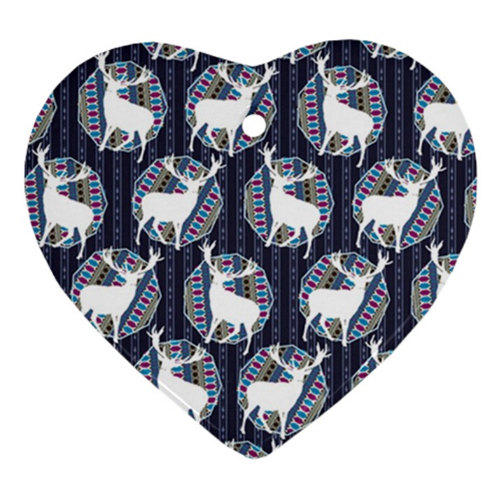 Geometric Deer Retro Pattern Heart Ornament (2 Sides)