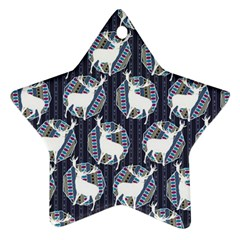 Geometric Deer Retro Pattern Star Ornament (two Sides)