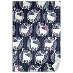 Geometric Deer Retro Pattern Canvas 12  X 18   by DanaeStudio