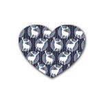 Geometric Deer Retro Pattern Heart Coaster (4 pack)  Front
