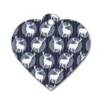 Geometric Deer Retro Pattern Dog Tag Heart (One Side)