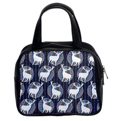 Geometric Deer Retro Pattern Classic Handbags (2 Sides) by DanaeStudio