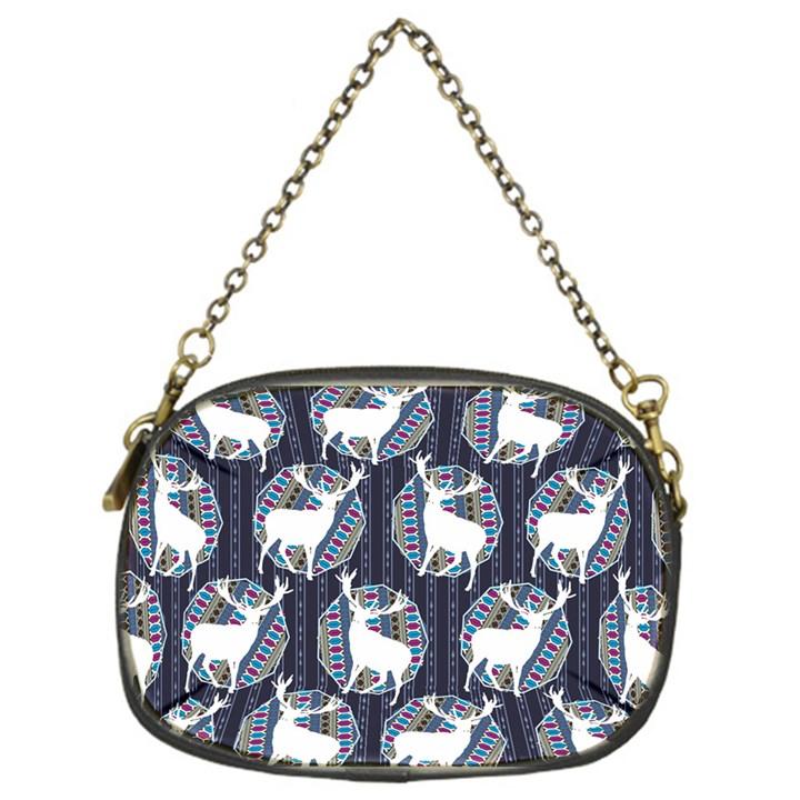 Geometric Deer Retro Pattern Chain Purses (One Side)