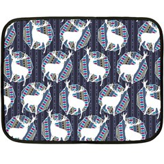 Geometric Deer Retro Pattern Fleece Blanket (mini) by DanaeStudio