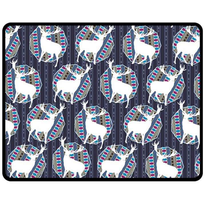 Geometric Deer Retro Pattern Fleece Blanket (Medium)