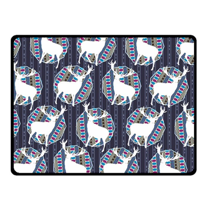 Geometric Deer Retro Pattern Fleece Blanket (Small)