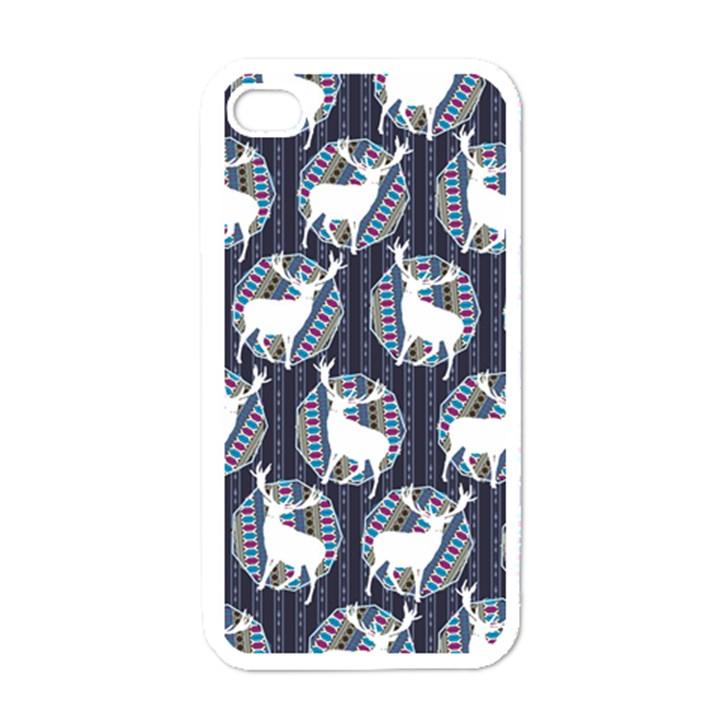 Geometric Deer Retro Pattern Apple iPhone 4 Case (White)