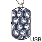 Geometric Deer Retro Pattern Dog Tag USB Flash (One Side)