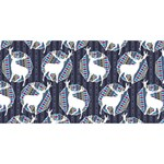 Geometric Deer Retro Pattern Twin Hearts 3D Greeting Card (8x4) Back