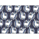 Geometric Deer Retro Pattern Ribbon 3D Greeting Card (7x5) Front