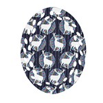 Geometric Deer Retro Pattern Oval Filigree Ornament (2-Side)