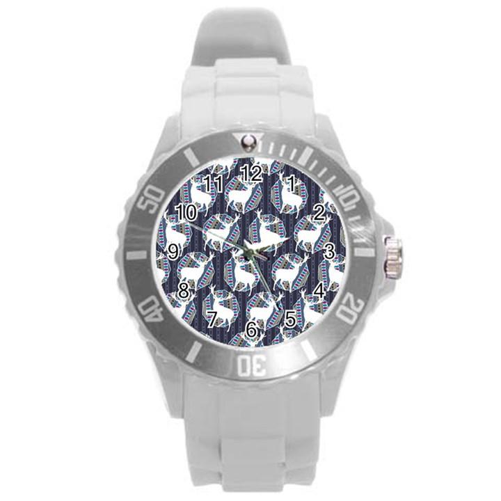 Geometric Deer Retro Pattern Round Plastic Sport Watch (L)