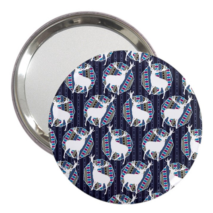 Geometric Deer Retro Pattern 3  Handbag Mirrors