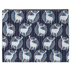 Geometric Deer Retro Pattern Cosmetic Bag (xxxl)  by DanaeStudio