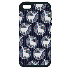 Geometric Deer Retro Pattern Apple Iphone 5 Hardshell Case (pc+silicone) by DanaeStudio