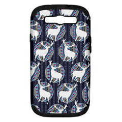 Geometric Deer Retro Pattern Samsung Galaxy S Iii Hardshell Case (pc+silicone) by DanaeStudio