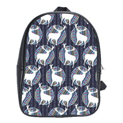Geometric Deer Retro Pattern School Bags (xl)  by DanaeStudio