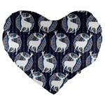 Geometric Deer Retro Pattern Large 19  Premium Heart Shape Cushions