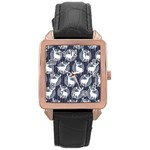 Geometric Deer Retro Pattern Rose Gold Leather Watch
