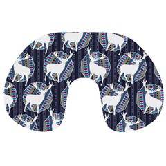 Geometric Deer Retro Pattern Travel Neck Pillows by DanaeStudio